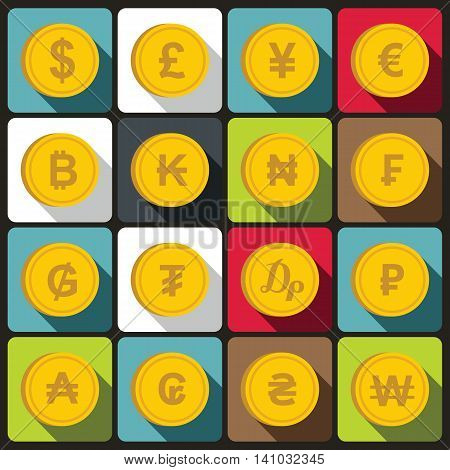 Currency from different countries icons set in flat style. Money Symbols elements set collection vector illustration