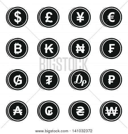Currency from different countries icons set in simple style. Money Symbols set collection vector illustration