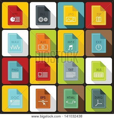 File format icons set in flat style. File formats set collection vector illustration