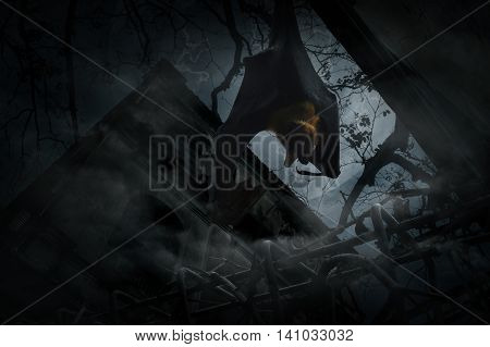 Bat scream and hang over fence old grunge castle moon and cloudy sky Mysterious background Halloween concept