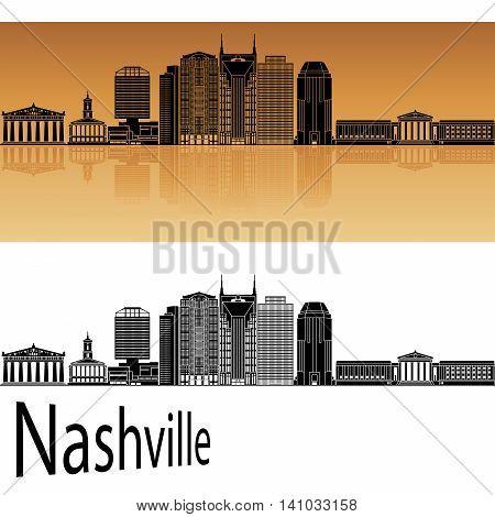 Nashville skyline in orange background in editable vector file