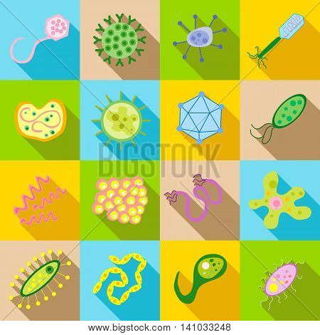Germ and pathogen icons set in flat style. Virus, cells , bacillus set collection vector illustration