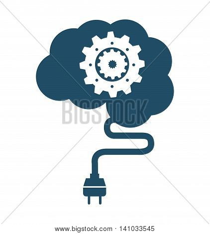 brain human wire cable plug icon vector illustration design