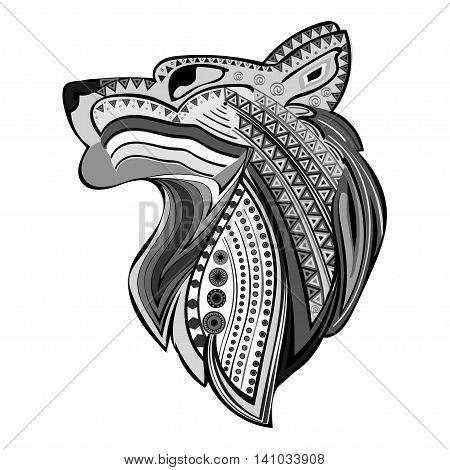 Vintage wolf head ethnic black white hand draw pattern. Predator. Wolf symbol freedom. Vector Wolf.