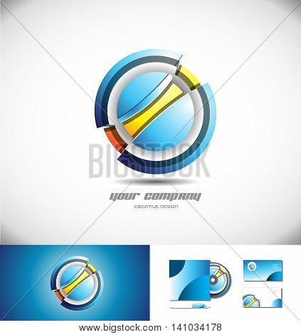 Vector company logo icon element template 3d design circle sphere blue orange abstract game media