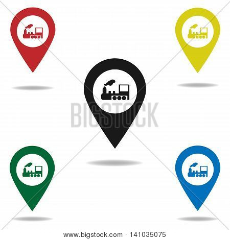 Subway Station or Railway Station Map Pointer Icon Isolated on gray Background.map pointer with train.vector illustration.