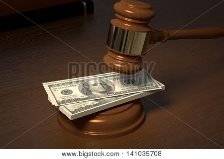 3D rendering of a judge hammer judge on the bribe money