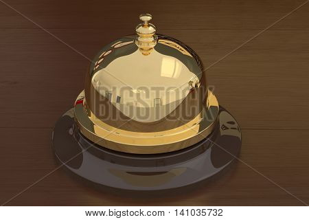3D rendering of a golden service bell on a wooden table