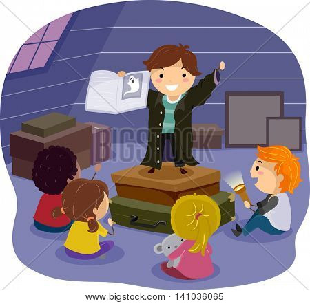 Stickman Illustration of Children Listening to a Horror Story in the Attic