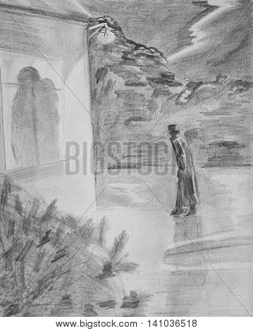 A walk in the rainy night. Pencil drawing