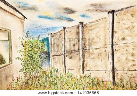Overgrown yard with a high fence. The pastel drawing
