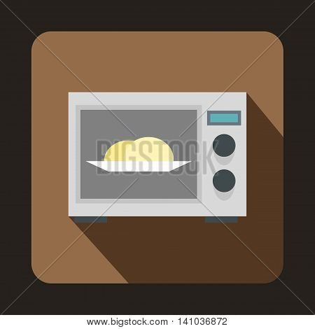 Microwave icon in flat style with long shadow. Home appliances symbol