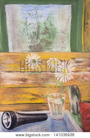 Still life with a bouquet of daisies and a flashlight. The pastel drawing