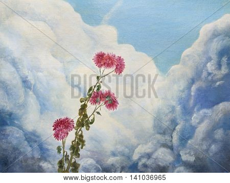 Chrysanthemums on the background of the cloudy sky. Painting