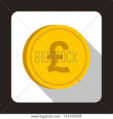 Coin pound sterling icon in flat style with long shadow. Monetary currency symbol