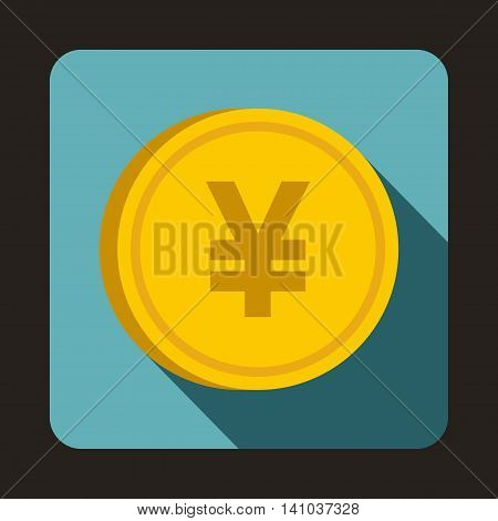 Coin yen icon in flat style with long shadow. Monetary currency symbol