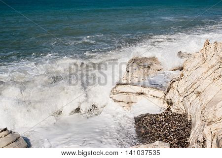 White rock on the Black Sea in Abkhazia