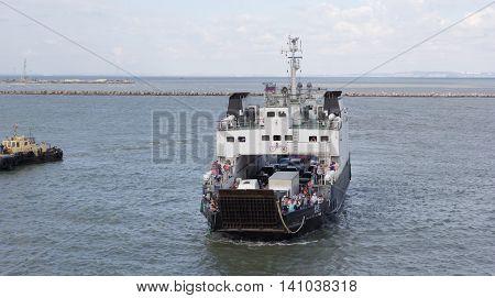 RUSSIA, PORT-KAVKAZ JUNE 12, 2014: Car ferry service between Krasnodar region and the Crimea