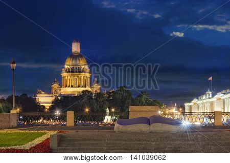 Saint-Peterburg night view on Saint Isaac cathedral