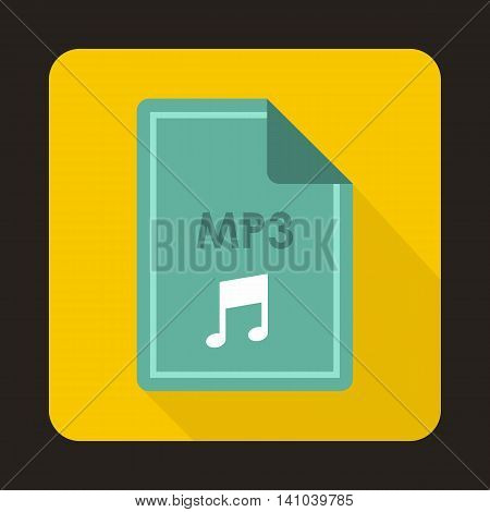 File MP3 icon in flat style with long shadow. Document type symbol