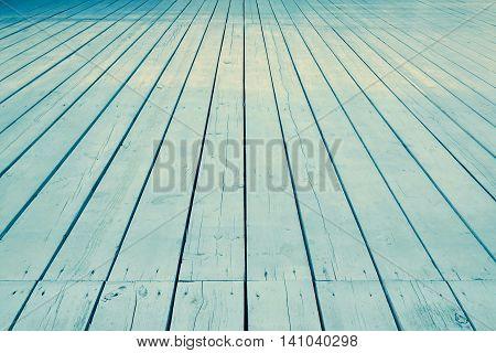Outdoor Patio Or Veranda Blue Wooden Floor In Perspective View