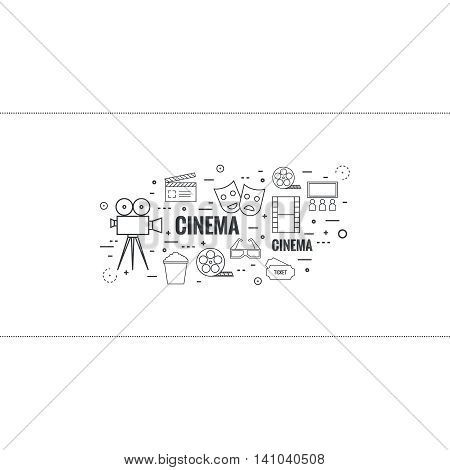 Abstract background with popcorn, camera, film reel, filmstrip, clapboard, mask, 3D glasses and tickets. The concept of cinema and watching movie. Layout, flyer, poster announcement. thin line