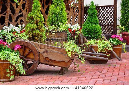 Decorative Patio At The Backyard