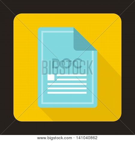 File DOC icon in flat style with long shadow. Document type symbol