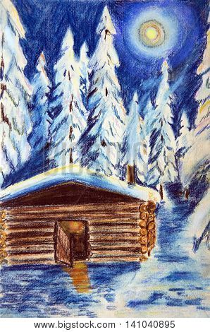 The pastel drawing on paper. The hut in the winter forest on a moonlit night