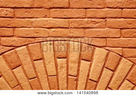 Antique Painted Red Brick Wall With Semicircle Pattern Background Texture