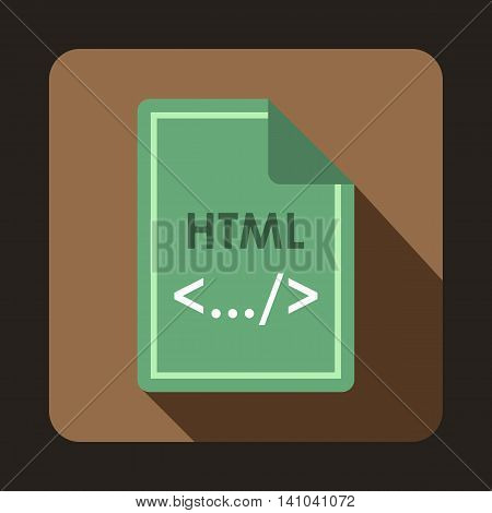 File HTML icon in flat style with long shadow. Document type symbol