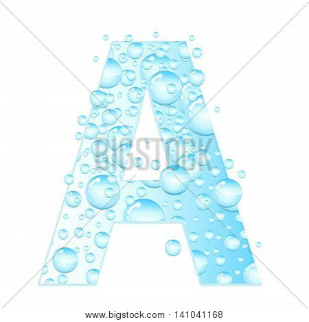 Letters soap bubbles water droplets. A Letter from the water bubbles. Aqua letter. Vector illustration.
