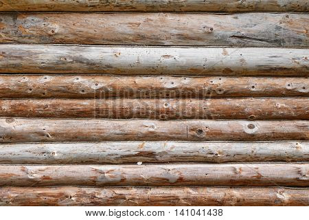 Debarked Rough Log Cabin Wall Horizontal Background