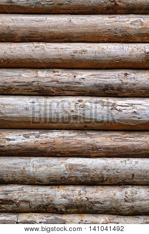 Debarked Rough Log Cabin Wall Vertical Background