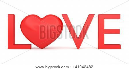 Love: Text with glossy 3d heart symbol 3d illustration
