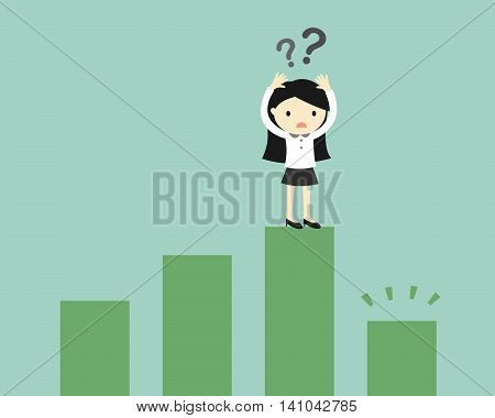 Business concept, Business woman is confused because the chart going down. Vector illustration.