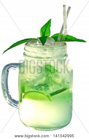Misted Glass Mason Jar With Mojito Cocktail Isolated On White