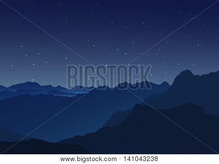 Vector background. Starry night sky. Stars sky night