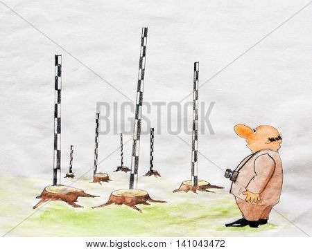 Caricature. The tourist looks at the stumps and rods with the height of the former trees. The problem of preservation of forests