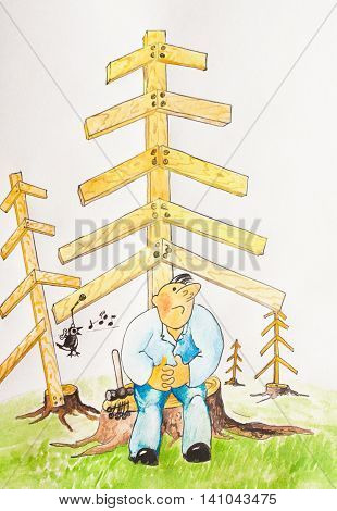 Caricature. The man on the stump listening to a mechanical bird. The problem of preservation of forests
