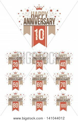 Set of anniversary design elements with ribbons