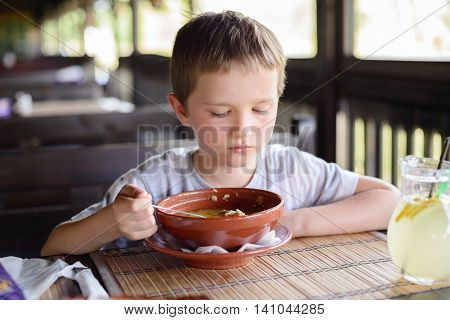 7 Years Old Child, Boy Eating Soup
