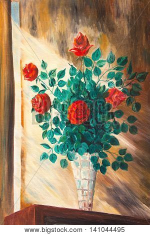 The paintings. Bouquet of roses in a vase