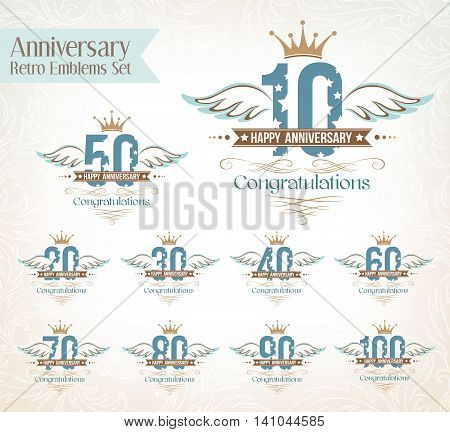Set of anniversary design elements wth wing decorations