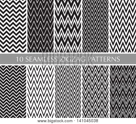 Seamless retro zigzag stripes patterns set. Black and white background collection.