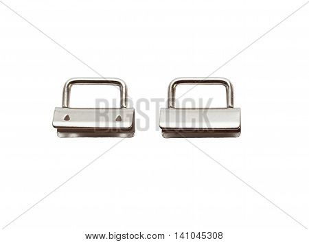 Key chain, Key Fob Hardware. Nickel supplies for key chain upper and downside, isolated on white background