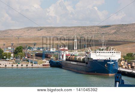 RUSSIA, KERCH 12, 2014: Train ferry service between Krasnodar region and the Crimea in the port of Kerch
