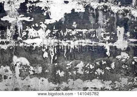 Black And White Concrete Wall With Damaged Plaster Layer Background