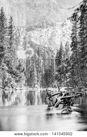 Merced River in Yosemite National Park - in black and white