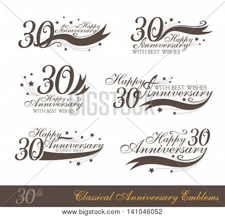 Anniversary 30th sign collection in classic style. Template of anniversary birthday and jubilee emblems with number editable and copy space on the ribbons.